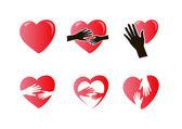 Mani con cuore set di icone — Vettoriale Stock
