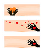 Banners templates with hands with hearts — Stock Vector
