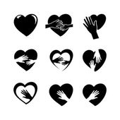 Hands with heart icon set — Stock Vector