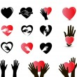 Stock Vector: Hands and heart icon set