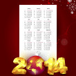 Calendar for 2014 with New Year background — Stock Vector