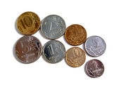 The Russian coins on a white background — Stock Photo