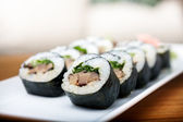 Rolls with shiitake mushrooms — Stock Photo