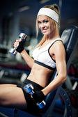Pumping up biceps — Stock Photo