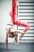Antigravity yoga — Stock Photo