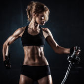 Fitness with barbell — Stock Photo
