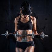 Fitness met halters — Stockfoto