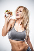 Fitness hamburger — Stock Photo