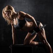 Fitness com halteres — Foto Stock
