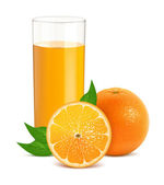 Fresh orange with leaves and glass with juice — Stock Vector
