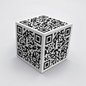 3D cube with QR code — Stock Photo