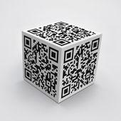 3d куб с qr-код — Стоковое фото