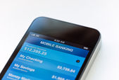 Mobile banking on mobile smartphone — Stock Photo