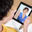 Video chat communication - Stock Photo