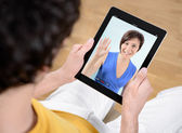 Video chat communication — Foto Stock