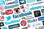 Mediów społecznych logo tło — Zdjęcie stockowe