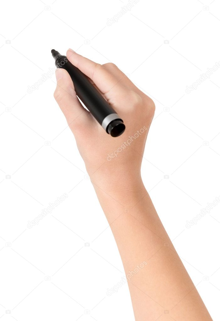 Female hand is ready for drawing with black marker. Isolated on white. — Stock Photo #14096383