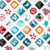 社会媒体图标无缝模式 — 图库照片