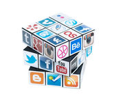 Rubick's Cube with social media logos — Stock Photo