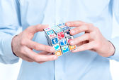 Solving a media puzzle — Stock Photo