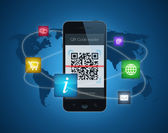 Smartphone with QR code reader — Stock Photo