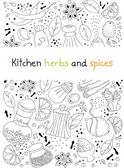 Kitchen herbs and spices doodle background — Stock Vector