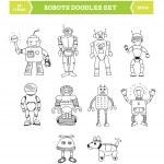 Simple robots doodles set — Stock Vector