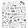 Social media doodle elements set — Image vectorielle