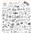sociala medier doodle element set — Stockvektor