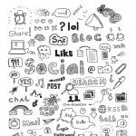 los medios de comunicación sociales doodle conjunto de elementos — Vector de stock