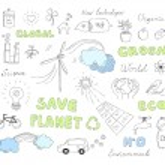 Ecology doodles vector elements set — Stock Vector