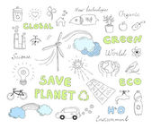 Ecology doodles vector elements set — Stock Vector