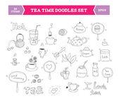 Tea doodle vector elements — Stock Vector
