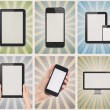 Stock Photo: Modern devices on retro background set