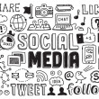 Social media doodles elements — Vector de stock #27809503