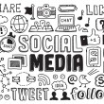 los medios de comunicación social doodles elementos — Vector de stock