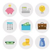 Finance icons in flat design — Stock Vector