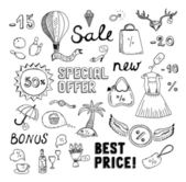 Sales and discount doodles sketch — Stock Vector
