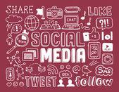 Social media doodles elements — Stock Vector