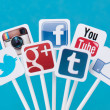Social media signs — Stock Photo