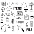 Office and business objects doodles set — Stok Vektör