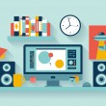 Designer workspace in the office — Stock Vector