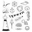 Sea vector doodle collection — Stock Vector
