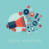 Digitale marketing-konzept-illustration — Stockvektor