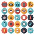 Flat shopping icons set — Stock Vector
