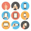 Stock Vector: Mobile communication flat icons set