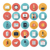 Business and office flat icons set — Stock Vector