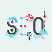 SEO word flat illustration — Stok Vektör