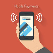 Processing of mobile payments illustration — Vector de stock