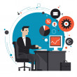 Businessman in the office flat illustration — Stock Vector